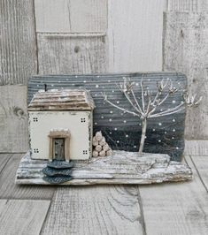 ON A WINTERS NIGHT Handcrafted original Driftwood Art by DriftwoodSails A beautiful snow scene Wood Sculpture that depicts an isolated little house on a winters night. The logs are piled high against the cottage wall, a winter tree bends in the wind a Christmas Scenes, Christmas Makes, Christmas Home, Christmas Crafts, Driftwood Christmas Decorations, Driftwood Christmas Tree, Driftwood Projects, Driftwood Art, Barn Wood Crafts