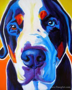 Colorful Pet Portrait, Greater Swiss Mountain Dog, Art Print, DawgArt, FREE SHIPPING