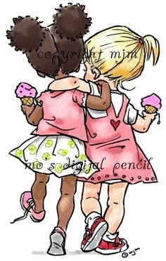 Summer Sisters s - Mo's Digital Pencil Cartoon Drawings, Cute Drawings, Digital Pencil, Mo Manning, Drawings Of Friends, Cool Nail Designs, Cute Images, Digi Stamps, Cute Characters