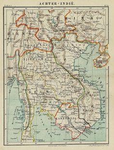 Achter-Indië, een antieke kaart  door Kuyper (Kuijper) uit 1882