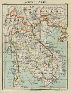 Title: Further India. Litho Card with border and mountain coloring of the North and South of China with Taiwan (Siam).1882
