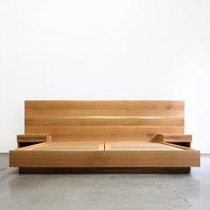 Hanko Plinth Bed with Side Tables Bed Frame Design, Bedroom Bed Design, Diy Bed Frame, Cama Design, End Tables With Drawers, King Size Bed Frame, Rustic Bedding, Wood Headboard, Wood Beds