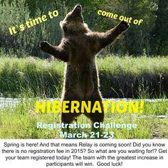 Hibernation Registration challenge email.  March 21-23