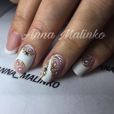 15 Wedding Nail Art Designs For Brides – My hair and beauty Beautiful Nail Designs, Beautiful Nail Art, French Nails, Sculpted Gel Nails, Nagel Bling, Bridal Nail Art, Manicure Y Pedicure, Nagel Gel, Stylish Nails