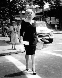 My favourite vintage fashion icon Marilyn Monroe (1926-1962), date unknown, wearing a vintage black pencil dress #topvintage topvintage retro boutique