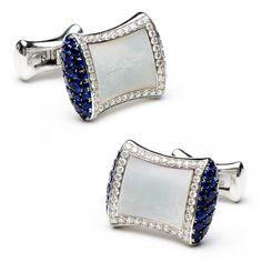 Jacob & Co Sapphire & Diamond MOP Pillow Cufflinks