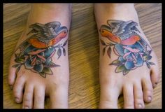 Robin & Rose Foot Tattoos