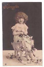 CPA HEUREUSE FETE CARTE PHOTO ENFANT AVEC PETIT COCHON - PORCELET 1906
