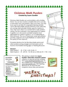 Christmas Math Puzzlers are word problems with a holiday theme. You can have students complete them all on one day, or have them solve one problem ...