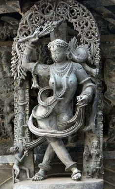 Lady with a monkey. The Chennakesava Temple complex, Belur. Courtesy: Ananth V Rao