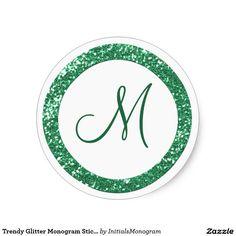 Trendy Glitter Monogram Stickers:Green Classic Round Sticker