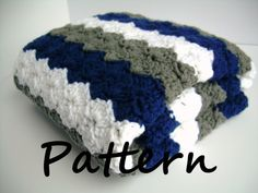 This listing is for the PDF pattern file for the image above.    This crochet baby blanket features two inch stripes in three colors. The pattern