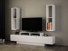 Simal TV Stand - 47 inches in width, White Tv Unit Furniture, Furniture Deals, Furniture Design, Bedroom Furniture, White Tv Unit, Tv Board, Board Games, Cool Tv Stands, Tv Unit Design