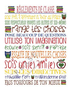 Règlements de classe 11x14 printable teacher by CreaseStudio, $12.00