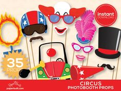 Carnival Photo Booth Props Carnival Birthday by PaperBuiltShop Wedding Photo Booth Props, Props Photobooth, Photo Props, Carnival Photo Booths, Carnival Ideas, Red Clown Nose, Circus Background, Accessoires Photobooth, Holidays Events