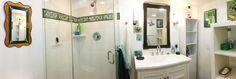 Bathroom w green mosaic listello.