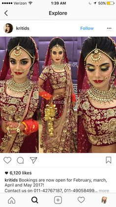 Makeup is too much Indian Wedding Makeup, Indian Wedding Bride, Indian Bridal Outfits, Indian Bridal Hairstyles, Indian Wedding Jewelry, Indian Bridal Wear, Wedding Lenghas, Lehenga Wedding, Bridal Pictures