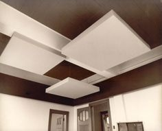 Sculptural Ceilings, ChicTip.com. Layered squares on your ceiling to create texture and depth.