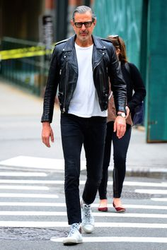 style has no age, casual black & white street wear look w/ leather moto jacket, classic white tee and slim black jeans // menswear style & fashion