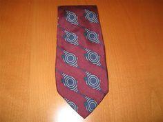 Vintage Metropolitan Museum Of Art 100% Silk Burgundy & Blue Necktie Tie…