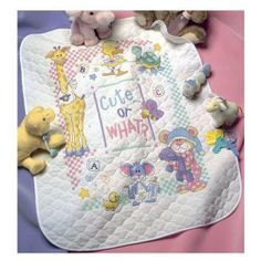 "farm cross stitch baby quilt | Baby Hugs Cute...Or What? Quilt Stamped Cross Stitch Kit-34""X43"""