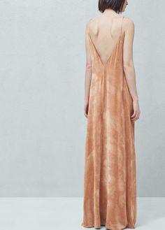 Robe longue en velours | MANGO