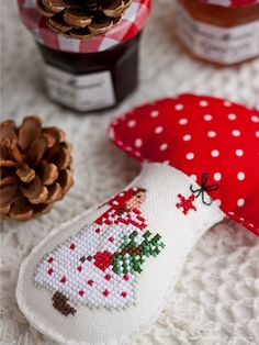 In the winter forest / In winter forest - evening meetings Cross Stitching, Cross Stitch Embroidery, Hand Embroidery, Cross Stitch Designs, Cross Stitch Patterns, Art Du Fil, Handmade Christmas Decorations, Tree Decorations, Holiday Decor