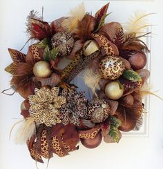 This is an XL Leopard Print Deco Mesh Wreath made with a beautiful copper/brown deco mesh with gold threading. A beautiful wreath for Wreaths And Garlands, Deco Mesh Wreaths, Fall Wreaths, Ribbon Wreaths, Floral Wreaths, Burlap Wreaths, Christmas Deco, Christmas Wreaths, Christmas Crafts