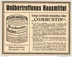 Original-Werbung/Anzeige 1914 - COMBUSTIN BEI BRANDWUNDEN / MOHREN-APOTHEKE HARTENSTEIN SACHSEN - ca. 90 X 110 mm