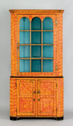 Painted corner cupboard ~ love the colors <3