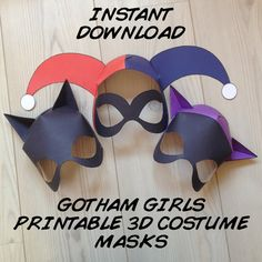 Gotham Girls Inspired 3D Printable Masks - Instant Download - City Sirens - Harley Quinn Catwoman Batgirl - Cosplay Costume Mask Printable