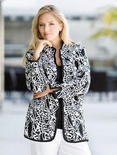 Ulla Popken Plus Size Reversible Ribbon Trimmed Jacket (bestseller)