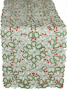 Xia Home Fashions Poinsettia Lush Holiday Embroidered Cutwork Table Runner, 15-Inch by 54-Inch by Xia Home Fashions. $30.94. Machine Washable. Hand Rendered Cutwork. Polyviscose. Fully Embroidered Poinsettia and Holly Berries. Fully embroidered poinsettias and holly berries cover these beautiful linens. An elegant addition to your holiday table setting.