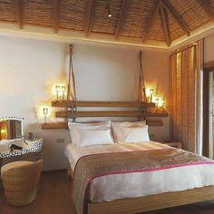 Constance Moofushi resort in Maldives, furniture by iBalDesigns, Bali Interior Design Inspiration, Home Interior Design, Maldives Luxury Resorts, Maldives Resort, Romantic Bedroom Design, Bali, Bamboo Panels, Bungalow Interiors, Home Lighting Design