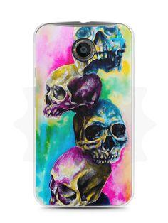 Capa Capinha Moto X2 Caveiras Coloridas Pintura - SmartCases - Acessórios para celulares e tablets :)
