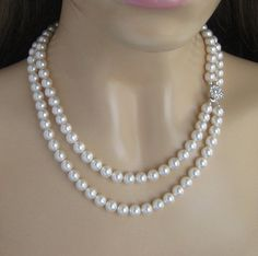 Wedding Jewelry Double Strand Pearl Necklace by JaniceMarie
