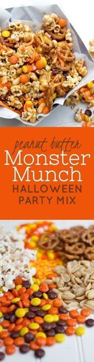 Peanut Butter Monste Peanut Butter Monster Munch Halloween Party...  Peanut Butter Monste Peanut Butter Monster Munch Halloween Party Mix. Click through for this perfect fall Halloween or Thanksgiving snack or appetizer recipe. Back To Her Roots Recipe : http://ift.tt/1hGiZgA And @ItsNutella  http://ift.tt/2v8iUYW