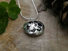 Honey Bee and Honey Comb Sterling Silver Essential Oil Pendant. Layered Silver Aromatherapy Diffuser Necklace. Bee Keeper, Bee Hive by QuietTimeJewelry on Etsy