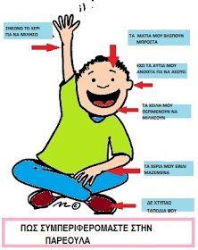 ...Το Νηπιαγωγείο μ' αρέσει πιο πολύ.: Οι κανόνες της τάξης μας, με μία διαφορετική προσέγγιση. Άκου το σώμα σου. Συνδυαστική δραστηριότητα First Day Of School, Back To School, Class Rules, Greek Language, Classroom Rules, Preschool Themes, Kids Corner, Kid Spaces, Physical Education