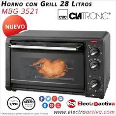 ¡Ideal para asar y cocinar con una mayor capacidad! Horno con Grill 28 Litros CLATRONIC MBG 3521 http://www.electroactiva.com/clatronic-horno-con-grill-28-litros-mbg-3521.html #Elmejorprecio #Horno #Electrodomesticos #PymesUnidas