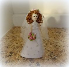 Bride Toothpick Art Doll cake topper wedding by ArrayOfHappiness