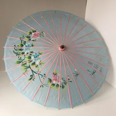 Hand Painted Parasol Vintage Asian Costume Accessory
