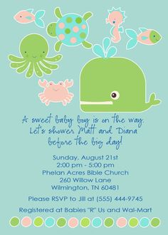 baby girl shower invitations with ocean animals by katiedidesigns