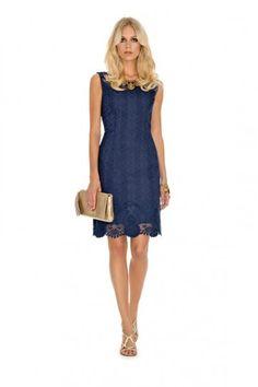 Abito blu Luisa Spagnoli - Abito corto blu con pizzo da cerimonia della  collezione Luisa Spagnoli b2c77b9b74b