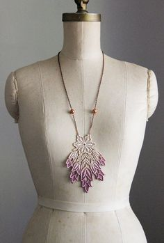 lace necklace- MARISSA- lilac ombre - long necklace -purple. $36.00, via Etsy.