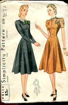 an interesting bodice. Vintage Dress Patterns, Clothing Patterns, Vintage Sewing, Sewing Patterns, 1940s Dresses, Vintage Dresses, Vintage Outfits, Vintage Clothing, 1940s Fashion