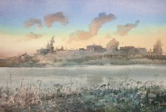 Watecolor painting - winter city