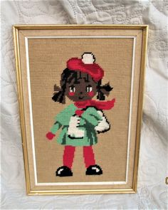 Vintage French Needlepoint, 1950's french art, kitschy needlepoint, wall decor, art for children, birthday gifts, black art by BoutiqueBouBou on Etsy
