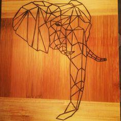 Geometric elephant cutting board.  Pyrography.