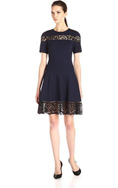 004128082b Rebecca Taylor Women s Short Sleeve Ponte Lace Dress